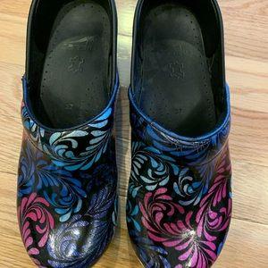 Dansko multi color wedge slip on shoes